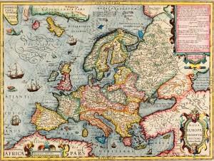 Jodocus Hondius, Map of Europe, 1597 Atlas sive cosmographicae meditationes de fabrica mundi et fabricati figura (1607-1608) Public domain.